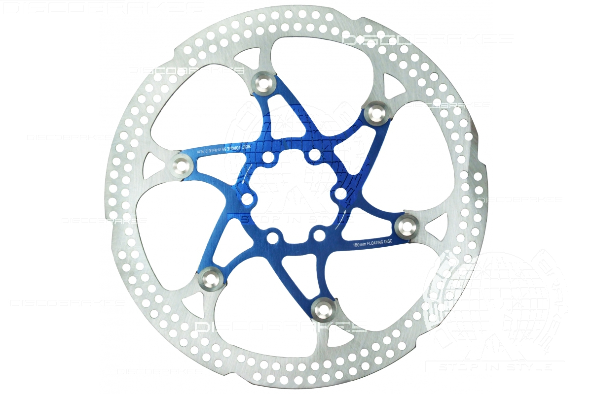 8 Colours Fits 6 Bolt IS Hub Stainless 180mm 7 inch Floating Disc Brake Rotor